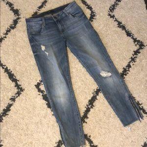 Taylor straight leg denim with zipper detail